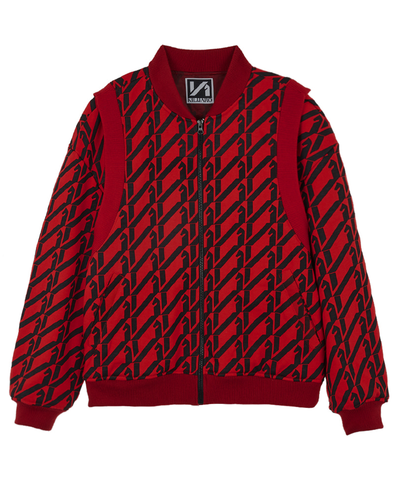 PATTERN REPEAT TERRY JACKET - RED