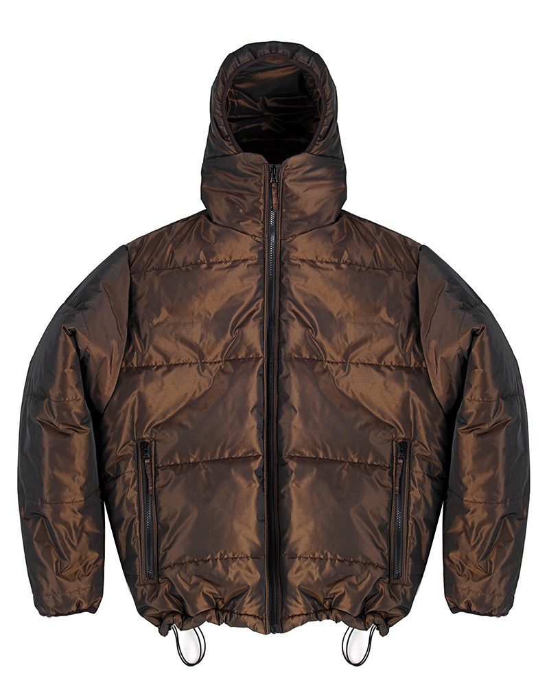 TWO TONE PUFFER JACKET - BROWN
